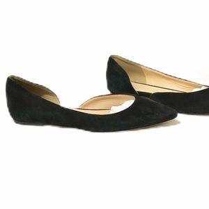 J Crew Audrey Black Suede Flat Shoes. Size 6